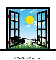 jeleń, okno, wektor, ciągnący, sleigh, prospekt