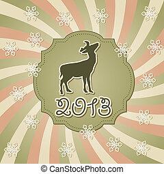 jeleń, powitanie, wektor, rok, nowy, karta