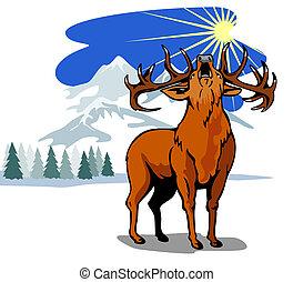 jeleń, w, przedimek określony przed rzeczownikami, śnieg, góry