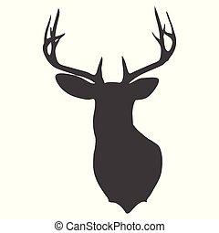 jelen, silueta, 0209, hlavička