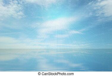 jelenlét, isteni, ég, tenger