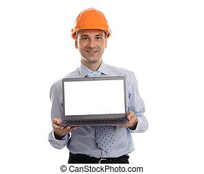 jelentékeny, övé, laptop, valami, átnyújtás, konstruál