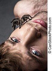 jelentékeny, övé, pók, fiatal, portré, arc, ember