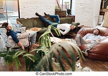 jelentékeny, bájos, férfiak, alvás, alatt, a, nappali