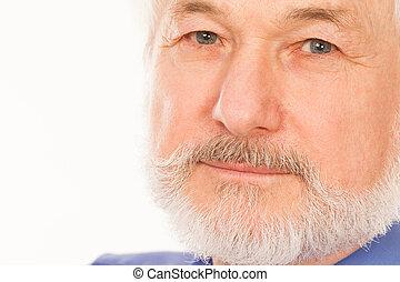 jelentékeny, ember, öregedő, szakáll