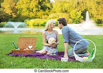 jelentékeny, ember, csókolózás, övé, feleség