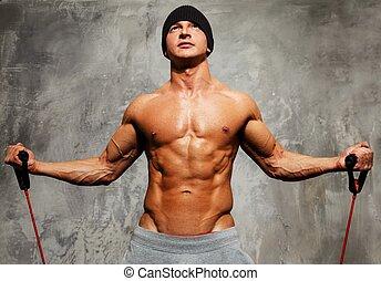 jelentékeny, ember, noha, erős, test, cselekedet, alkalmasság gyakorlás