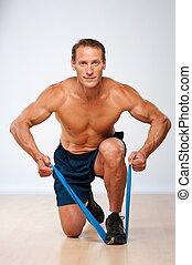 jelentékeny, erős, ember, cselekedet, kifeszítő, exercise.