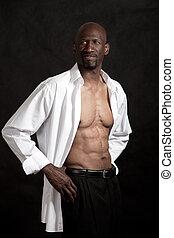 jelentékeny, fekete, african american bábu, alatt, övé, negyvenes évek