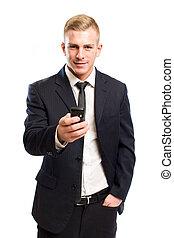 jelentékeny, fiatal, üzletember, képben látható, mozgatható, telefon.