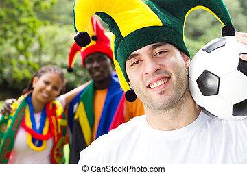 jelentékeny, fiatal, futball, rajongó