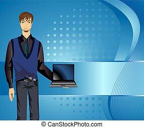 jelentékeny, fiatalember, noha, egy, laptop.