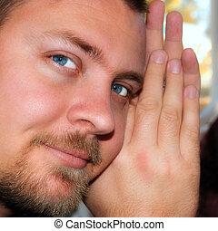 jelentékeny, fiatalember, noha, erős, szem kontaktlencse