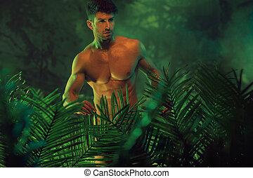 jelentékeny, meztelen, ember, alatt, a, csípős, dzsungel