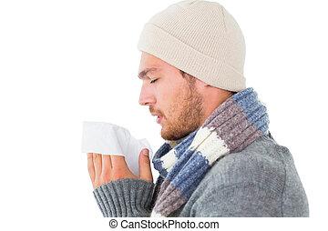 jelentékeny, tél, övé, fújás, mód, orr, ember