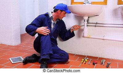 jelentékeny, vízvezeték szerelő, rögzítő, mosogató, és,...