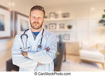 jelentékeny, young felnőtt, hím doktor, noha, szakáll, belső, hivatal