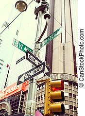 jelez, skyscraber, utca, háttér, manhattan, jellegzetes