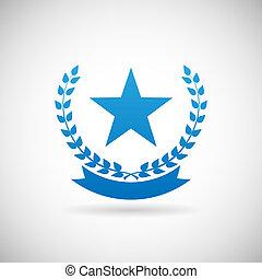 jelkép, ábra, troph, vektor, tervezés, adományoz, sablon, ikon