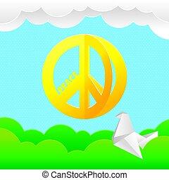 jelkép, béke, hippi, háttér, természet