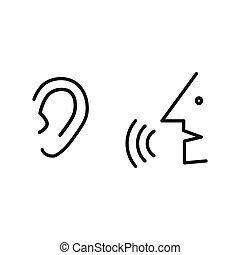 jelkép, beszél, hallgat