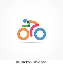 jelkép, bicikli, színes, ikon