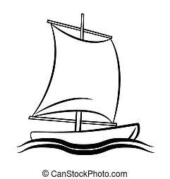 jelkép, csónakázik