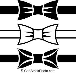 jelkép, csomó, vektor, fekete, íj