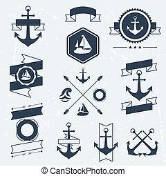 jelkép, elements., ikonok, gyűjtés, tengeri, jelvény