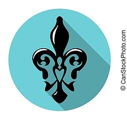 jelkép, ellen-, francia, fleur, hosszú, lis, liliom, shadow., ikon