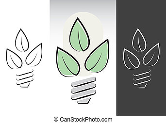 jelkép, energia, zöld, lightbulbs