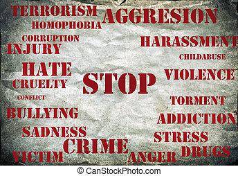jelkép, erőszak, abbahagy