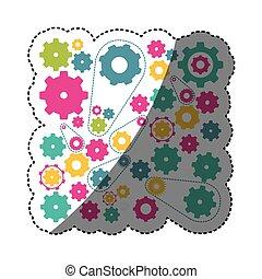 jelkép, fogaskerék-áttétel, színes, ikon