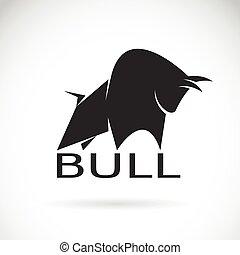 jelkép, kép, háttér., vektor, tervezés, bika, fehér, jel