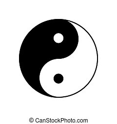 jelkép, kínai, vektor, taoism, yin, icon., aláír, yang, yinyang