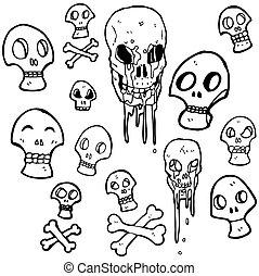 jelkép, kísérteties, karikatúra, koponya, gyűjtés