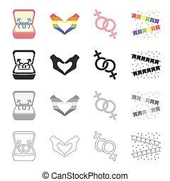 jelkép, közül, same-sex, szeret, szív, kezezés gesztus, színes, flags., nemi, kisebbség, állhatatos, gyűjtés, ikonok, alatt, karikatúra, fekete, monochrom, áttekintés, mód, vektor, jelkép, állandó ábra, web.