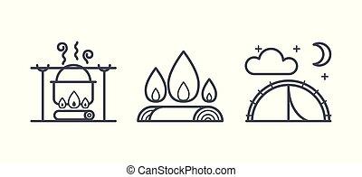 jelkép, külső, kempingezés, természetjárás, áttekintés, ikonok, ábra, vektor, pictograms, elfoglaltság, lineáris