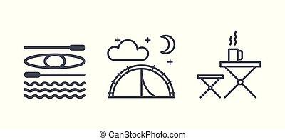 jelkép, külső, természetjárás, kempingezés, utazás, áttekintés, ikonok, ábra, vektor, pictograms, elfoglaltság, lineáris