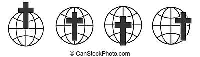 jelkép., keresztény, ikon, állhatatos, földgolyó, icons., lineáris, kereszt, földdel feltölt