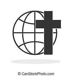 jelkép., keresztény, lnear, ikon, földgolyó, kereszt, icon., földdel feltölt