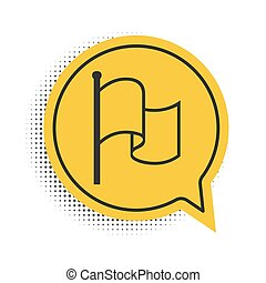 jelkép., lobogó, ikon, fehér, buborék, sárga, vektor, beszéd, háttér., elszigetelt, fekete
