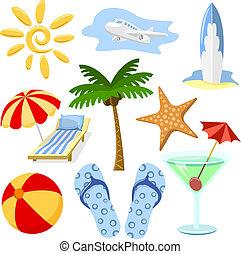 jelkép, nyár, utazás, vektor, set.