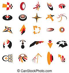 jelkép, nyílvesszö, jel, cégtábla, kártya, ügy icons, faji, karikák, kanyarok, lenni, irány, használt, színes, márka, gyűjtés, levél, használ, személyazonosság, alkotott, ezeket, konzerv, head., etc.