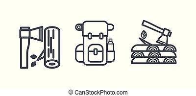 jelkép, pihenés, külső, kempingezés, természetjárás, áttekintés, ikonok, ábra, vektor, pictograms, elfoglaltság, lineáris