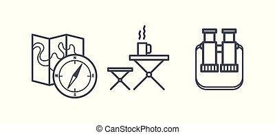 jelkép, pihenés, külső, természetjárás, kempingezés, áttekintés, ikonok, ábra, vektor, pictograms, elfoglaltság, lineáris