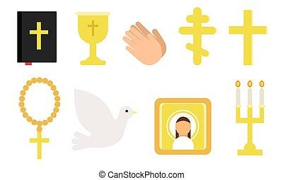 jelkép, religion., vektor, különböző, állhatatos, illustration., keresztény