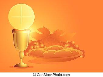 jelkép, szőlő, kehely, oltáriszentség, bread
