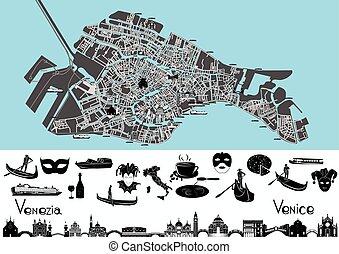 jelkép, térkép, velence, landmar