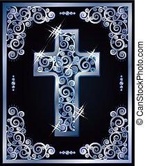 jelkép, vektor, keresztény, kereszt, ábra